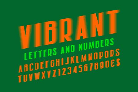 Vibrant alphabet with numbers and currency signs. Orange glowing vibrant font. Isolated english alphabet.