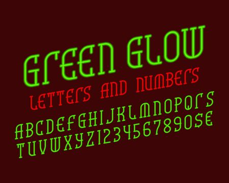 Green glow alphabet with numbers and currency signs. Neon vibrant font. Isolated english alphabet.