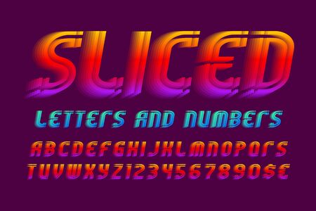 Sliced alphabet with numbers and currency signs. Colorful vibrant font. Isolated english alphabet.
