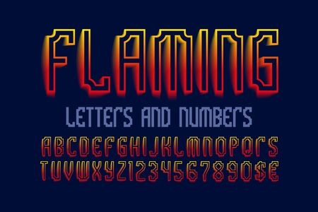 Flaming letters and numbers with currency signs. Red yellow artistic font. Isolated english alphabet. Stock Illustratie