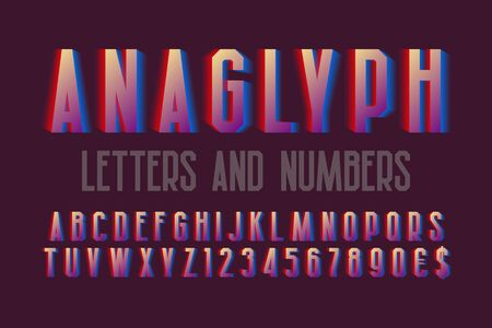 Anaglyph letters and numbers with currency signs. Urban vibrant font. Isolated english alphabet. Stock Illustratie