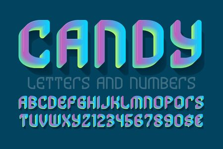 Candy letters and numbers with currency signs. Colorful gradient festive font. Isolated english alphabet.