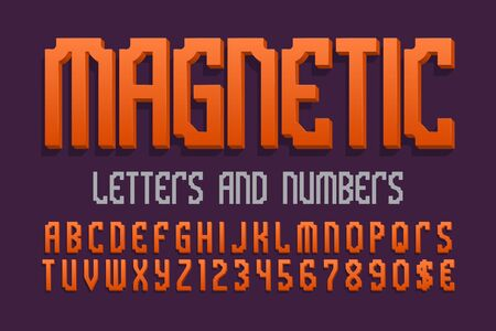 Magnetic letters and numbers with currency signs. Orange 3d font. Isolated english alphabet.
