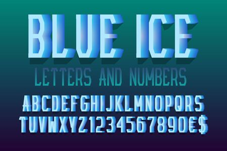 Blue ice letters and numbers with currency signs. Urban 3d letters font. Isolated english alphabet.