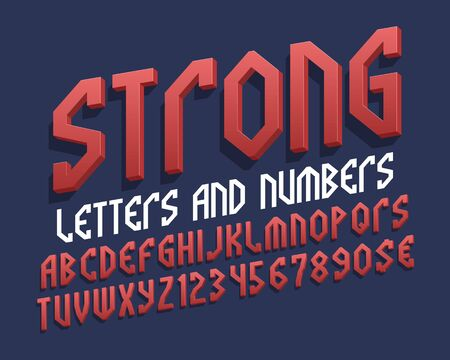 Strong letters and numbers with currency signs. Red stylish 3d font. Isolated english alphabet.