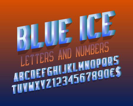 Blue ice letters with numbers, dollar and euro signs. 3d stylized font. Isolated english alphabet.