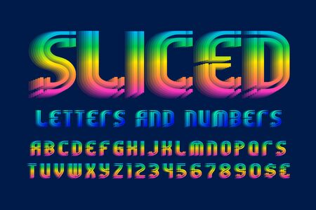 Sliced letters and numbers with currency signs. Iridescent vibrant font. Isolated english alphabet.