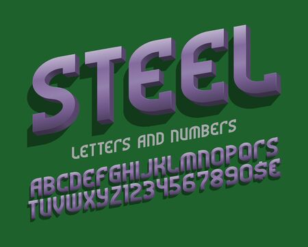 Steel alphabet with numbers and currency signs. Metallic 3d font. Isolated english alphabet. Çizim