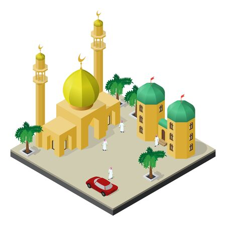 Isometric scene of muslim city life. Mosque, Arab men, Arabian building, red car and palm trees.