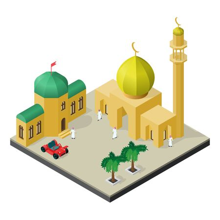 Muslim city life in isometric view. Mosque, Arab people, Arabian house, car and palm trees.