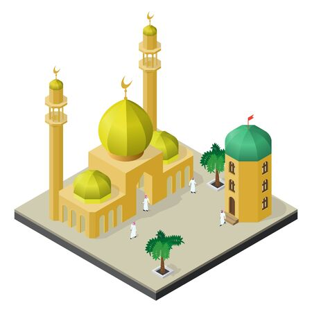 Muslim city life in isometric view. Mosque, Arab men, Arabian house and palm trees.