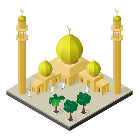 Mosque, minarets, Arab men and palm trees in isometric view.