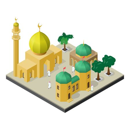 Arabian city life in isometric view. Mosque, muslims, urban buildings and trees. Stock Illustratie