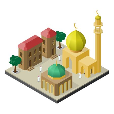 Oriental city life in isometric view. Mosque, muslims, urban buildings and trees.