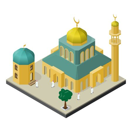 Oriental city life in isometric view. Mosque with minaret, muslims, arabian building and tree.