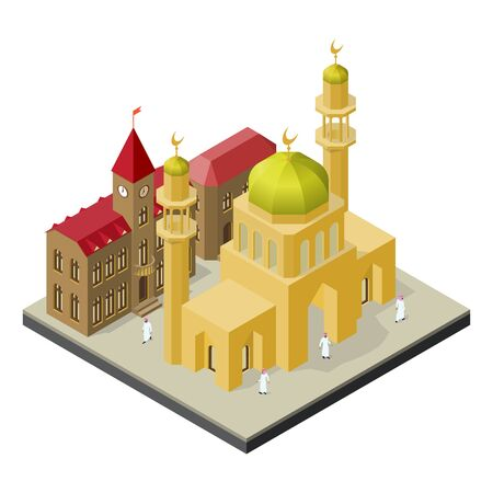 City life in isometric view. Mosque with minarets, urban buildings and muslims.