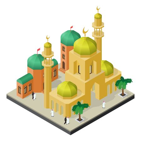 City life in isometric view. Mosque with minarets, urban buildings, men and women in muslim clothes.
