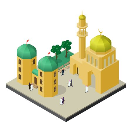 City life in isometric view. Mosque with minaret, urban building, trees, benches, men and women in muslim clothes. Stock Illustratie