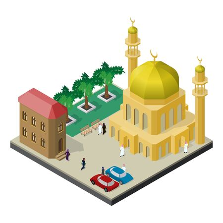 City life in isometric view. Mosque with minarets, urban building, trees, benches, cars men and women in muslim clothes.