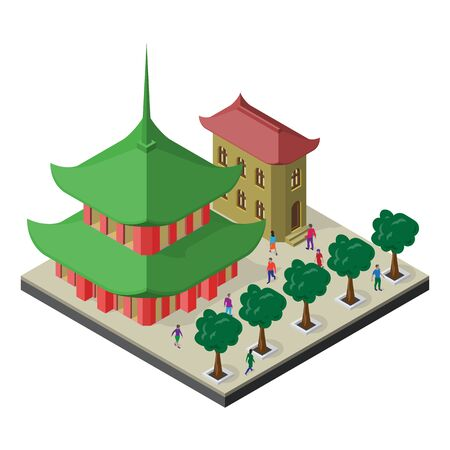 Isometric cityscape with oriental culture. Pagoda, building, trees alley and people. Stock Illustratie