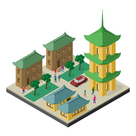 Isometric cityscape in east asia culture. Pagoda, buildings, trees, car and people. Illustration