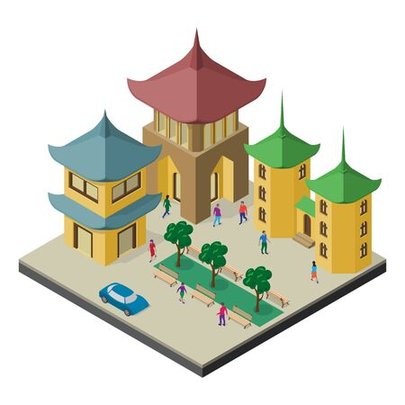 Isometric east asia cityscape. Pagoda, urban buildings, trees, benches, car and people.