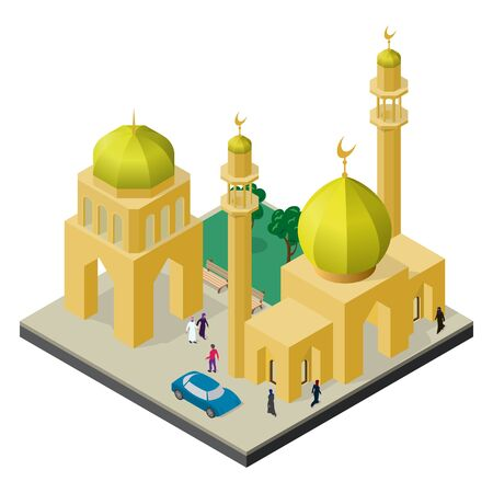 Cityscape in isometric view. Mosque with minaret, urban building, trees, benches, car and people.