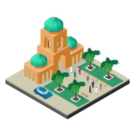 Cityscape in isometric view. Temple, alley with trees, benches, car and people.