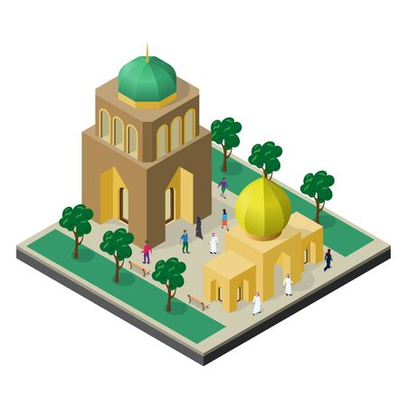 Cityscape in isometric view. Temple, urban building, alley with trees, benches and people.