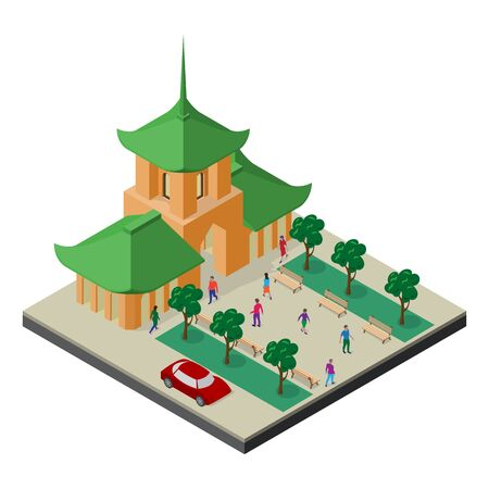 Isometric east asia cityscape. Buddhist temple, trees, benches, car and people. Stock Illustratie
