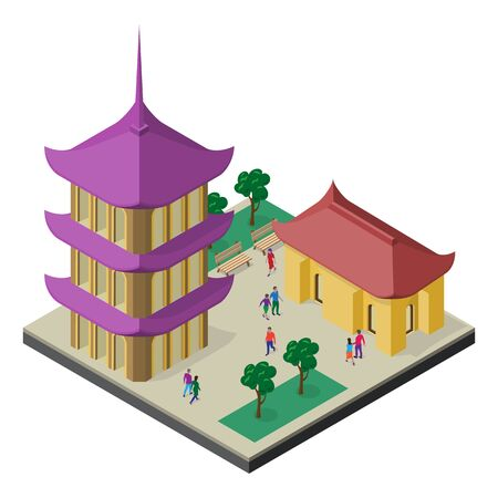 Isometric east asia cityscape. Pagoda, building, trees, benches and people.
