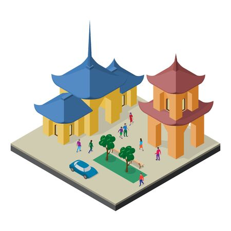 Isometric east asia cityscape. Buddhist temple, pagoda, trees, benches, car and people. Stock Illustratie
