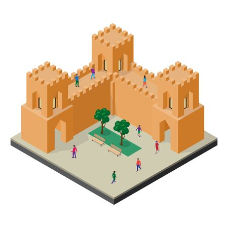 Cityscape in isometric view. Fortress wall, towers, benches, trees and people.