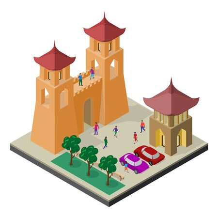 Cityscape in isometric view. Fortress wall, benches, trees, parking, cars and people.