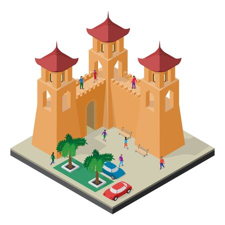 Cityscape in isometric view. Fortress wall, towers, benches, trees, cars and people.