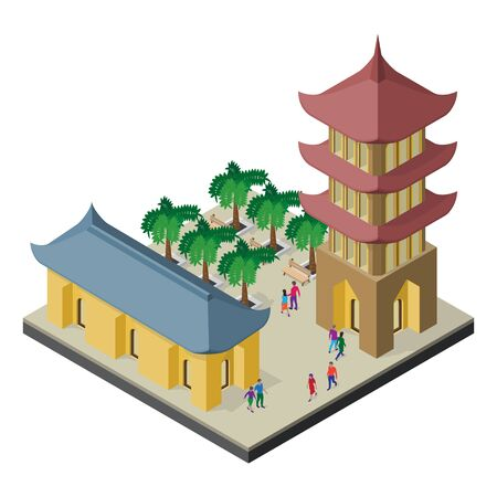 Isometric east asia cityscape. Pagoda, building, palm trees, benches and people. Stock Illustratie