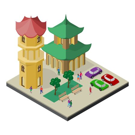Isometric east asia cityscape. Pagoda, tower, trees, benches, car and people.