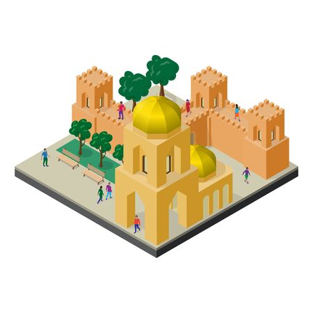 Cityscape in isometric view. Fortress wall, temple, benches, trees and people.