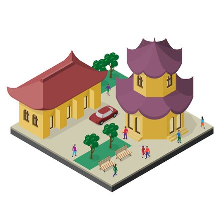Isometric east asia cityscape. Pagoda, building, trees, benches, car and people.