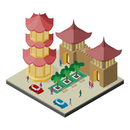 Isometric east asia cityscape. Pagoda, fortress building, trees, benches, cars and people.
