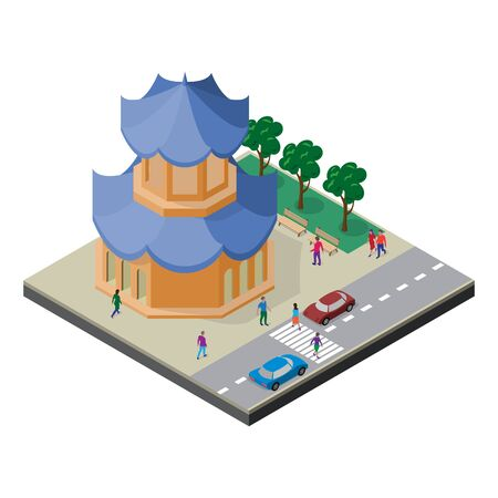 Isometric east asia cityscape. Pagoda, roadway, trees, benches, cars and people.