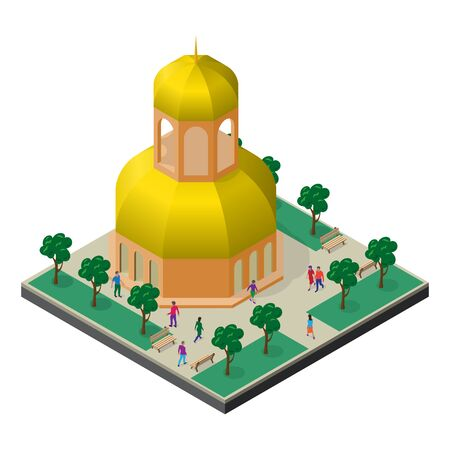 Cityscape in isometric view. Temple in park with trees, benches and people.
