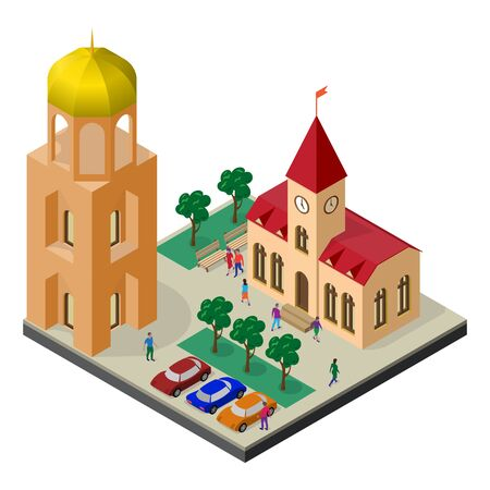 Cityscape in isometric view. Tower, town hall, car parking, trees, benches and people.
