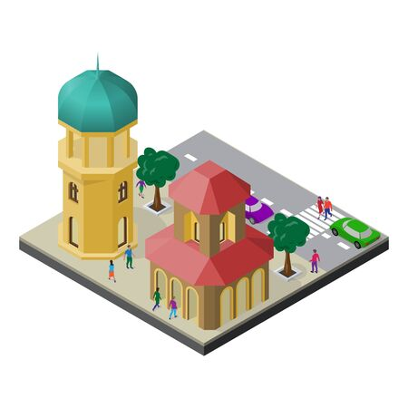 Cityscape in isometric view. Tower, town building, roadway, trees, cars and people. Stock Illustratie