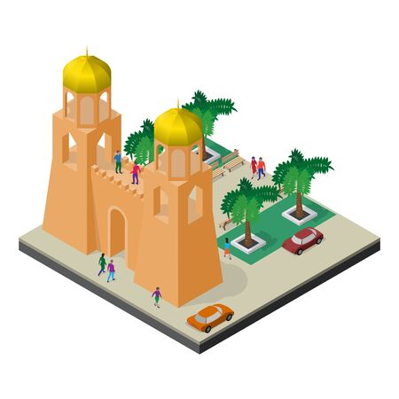 Cityscape in isometric view. Fortress wall, towers, arboretum, cars and people. Ilustrace