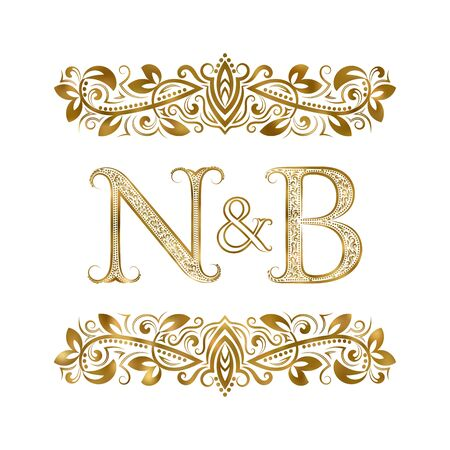 N and B vintage initials symbol. The letters are surrounded by ornamental elements. Wedding or business partners monogram in royal style.  イラスト・ベクター素材