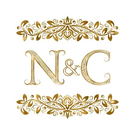 N and C vintage initials  symbol. The letters are surrounded by ornamental elements. Wedding or business partners monogram in royal style.