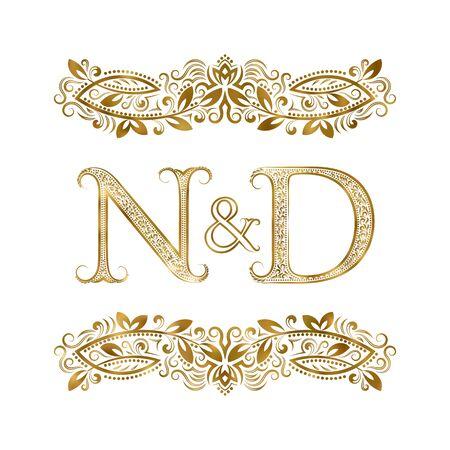 N and D vintage initials  symbol. The letters are surrounded by ornamental elements. Wedding or business partners monogram in royal style.