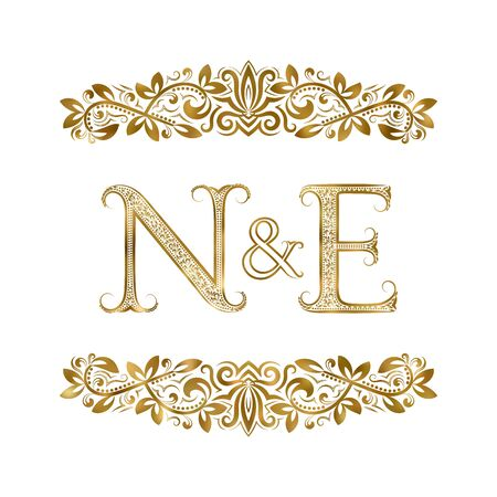 N and E vintage initials   symbol. The letters are surrounded by ornamental elements. Wedding or business partners monogram in royal style.