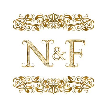 N and F vintage initials symbol. The letters are surrounded by ornamental elements. Wedding or business partners monogram in royal style.  イラスト・ベクター素材